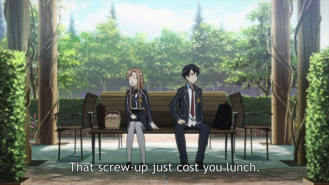 For what? Everyone in the cafeteria can see you two, so you deny Kazuto a sandwich? You fucking, good-for-nothing littke bitch!