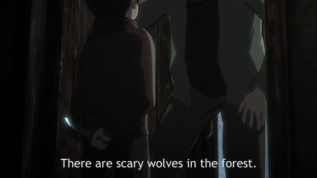 Oh, there are more scarier things in the forest than wolves, like 10-year olds brandishing knives.