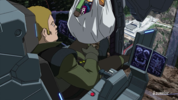 Remember: Always bring a bag of food for when camping out in a mobile suit for who knows how long.