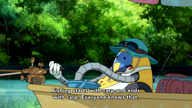 Wait a second. How would QT be able to know about fishing? I though Space Dandy doesn't have continuity.