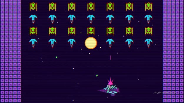 So I guess Galaga's old news in Space Dandy. We Space Invaders now.
