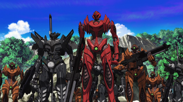 If that red one isn't three times faster than the other models, I'll accuse Argevollen for ignoring the obvious mecha trope.
