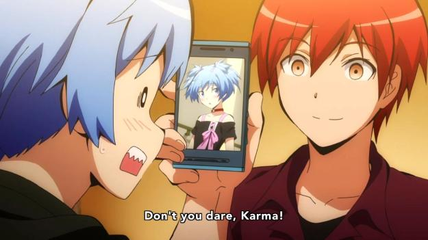 Yeah, Nagisa better keep those embarassing photos of his where Karma can't find them.